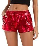 Tandisk Women's Yoga Hot Shorts Shiny Metallic Pants with Elastic Drawstring Red M