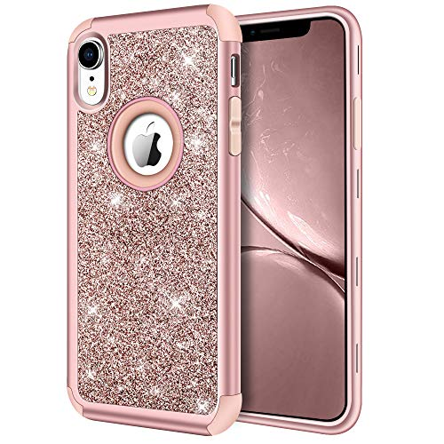 (iPhone XR Case, Hython Heavy Duty Full-body Defender Protective Case Bling Glitter Sparkle Hard Shell Armor High Impact Hybrid Shockproof Silicone Rubber Bumper Cover for iPhone XR 6.1-Inch, Rose Gold)