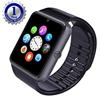 You Gadget Gt08 Bluetooth Smart Watch With Camera Sim Card Slot And Smart Health Watch For Android Smartphone And Iphone Gray Black Band