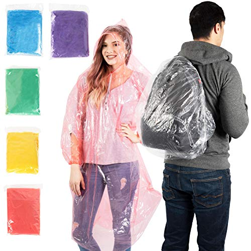 - Emergency Waterproof Disposable Rain Ponchos – Assorted Colors 10 Pack - Lightweight Universal Design for Adults, Men & Women - Poncho Includes Hoods with Drawstrings - Bonus Backpack Rain Cover