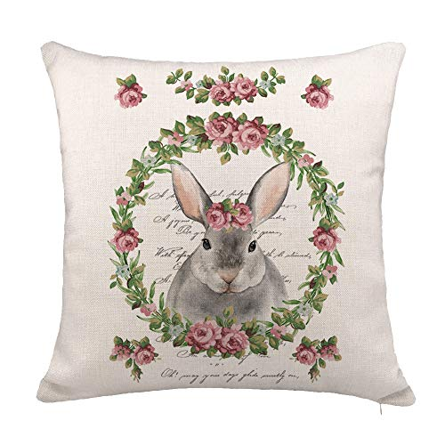 YOENYY Vintage Easter Bunny Throw Pillow Cover Cushion Case for Sofa Couch Flower Wreath Spring Home Decor Cotton Linen 18
