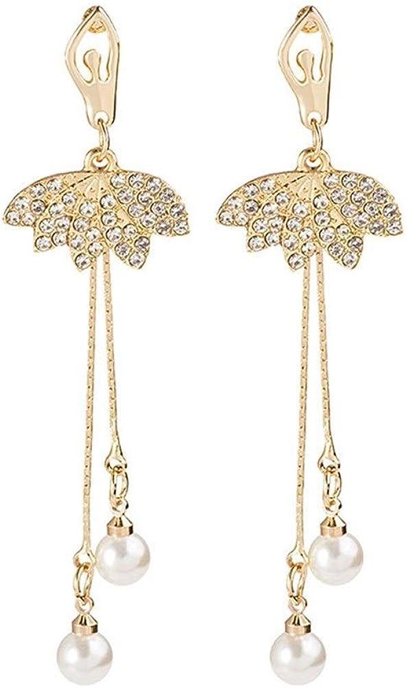 Pendientes Mujer Pendientes Ear Cuff Ballet pendientes de diamantes niña larga sección de la corriente Su Sen Departamento de aretes de perla colgante