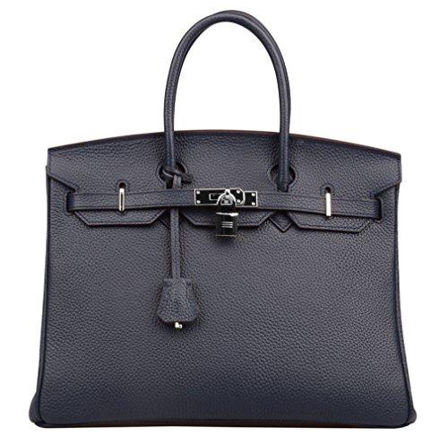 Ainifeel Women's Padlock Handbags with Silver Hardware (35 cm, Dark bue) by Ainifeel
