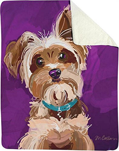 CC Home Furnishings Purple and Brown Bandit The Yorkshire Terrier Tapestry Throw Blanket 50