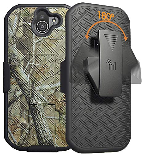 (Duraforce Pro 2 Case with Clip, Nakedcellphone [Outdoor Camouflage] Tree Leaf Real Woods Camo Cover with Kickstand [Rotating/Ratchet] Belt Hip Holster Combo for Kyocera Duraforce Pro-2 Phone)