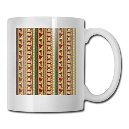 Funny Ceramic Novelty Coffee Mug 11oz,African Tribal Pattern With Abstract Folk Figures And Drum Icons Traditional Design,Unisex Who Tea Mugs Coffee Cups,Suitable for Office and Home