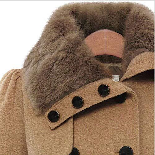 Kamel Puro Invernali Fashion Multistrato Double Casual Huixin Donna Cappotto Trench Costume Cintura In Inclusa Sintetica Collo Colore Breasted Cappotti Outwear Giaccone Pelliccia Addensare Eleganti Autunno qxSxw1