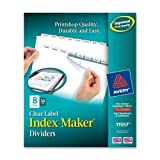 Wholesale CASE of 2 - Avery Prepunched Index Maker Dividers w/ Tabs-Index Maker, Laser, Punched, 8-Tabs, 50 ST/BX, White