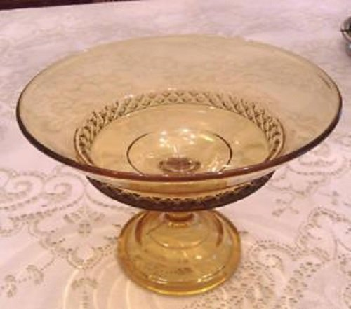Amber Pressed Glass Pedestal Open Fruit Compote Bowl Vintage