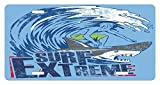 zaeshe3536658 Vintage License Plate, Extreme Sports Theme Vintage Illustration of a Surfer and a Shark Pattern, High Gloss Aluminum Novelty Plate, 6 X 12 Inches, Blue and Dark Blue