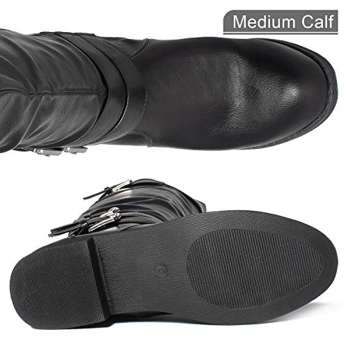 98e7645f278d2 RF ROOM OF FASHION Medium Calf Buckle Knee High Riding Boots Hidden Pocket  Black (6