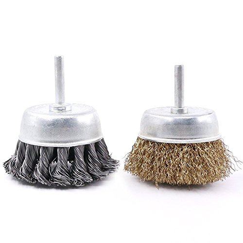 Swpeet 2 PCS 3 Inch Steel Knotted and Brass Plated Crimped Cup Wire Wheels Brush Set, Perfect For Removal of Rust/Corrosion/Paint - Reduced Wire Breakage and Longer Life