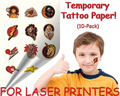 Tattoo Paper: 10-Pack (For Laser) Temporary Tattoo