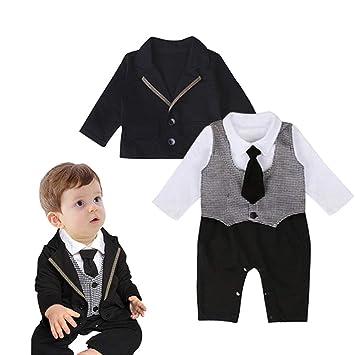 e1ac5cc7b112e Neky ベビー ロンパース 男の子 セレモニーロンパース キッズ 結婚式服 子供 フォーマル スーツ 長袖 90