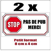 SAFIRMES 2 Petits Autocollants Stop Pas DE PUB 4x8cm
