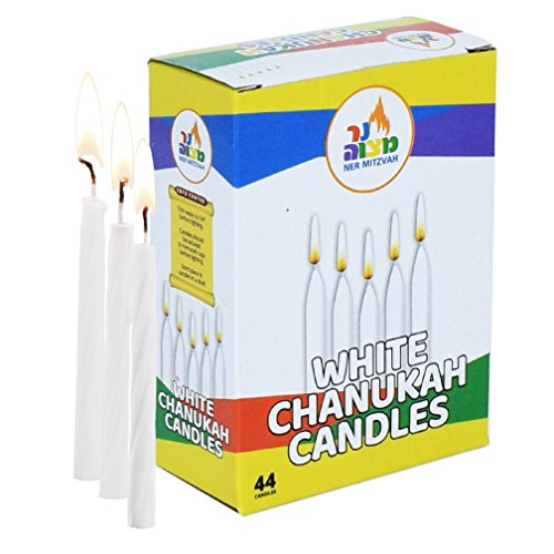 White Chanukah Candles - Standard Size Fits Most Menorahs - Premium Quality Wax - 44 Count For All 8 Nights of Hanukkah - by Ner (Family Menorah)
