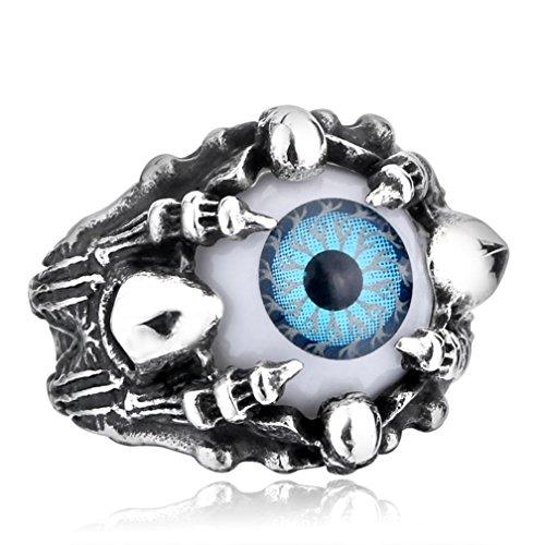 Stainless Steel Fashion Men's Rings Eye Evil Gold Silver - 9
