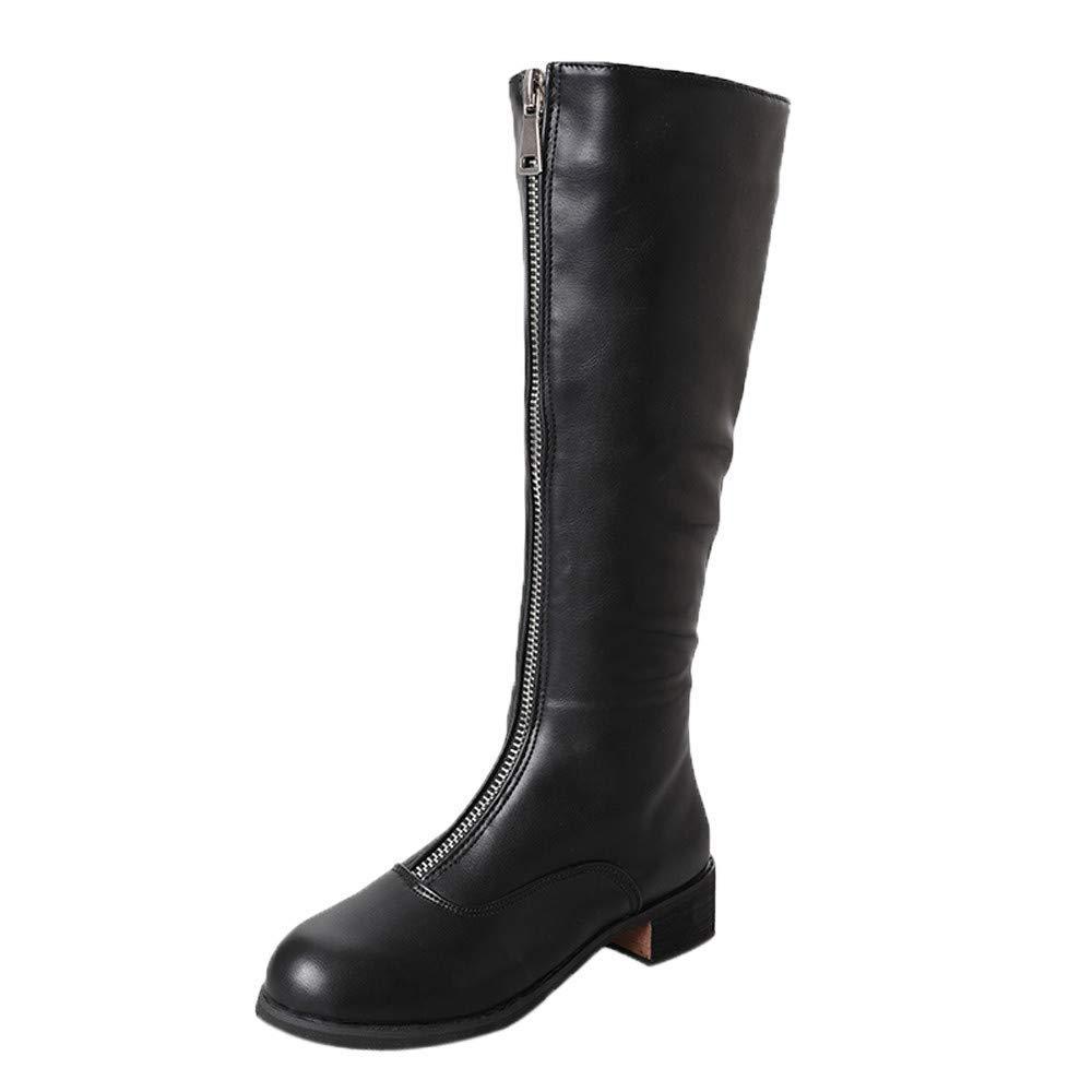 Oudan Oudan Oudan Stiefel Damen Schuhe Frauen Stiefeletten Overknee Stiefel Zipper Sexy Flache Stiefel Party Schuhe Elegant Kurzschaft Keilabsatz Schlupfstiefel (Farbe   Schwarz, Größe   36 EU) 037b7e