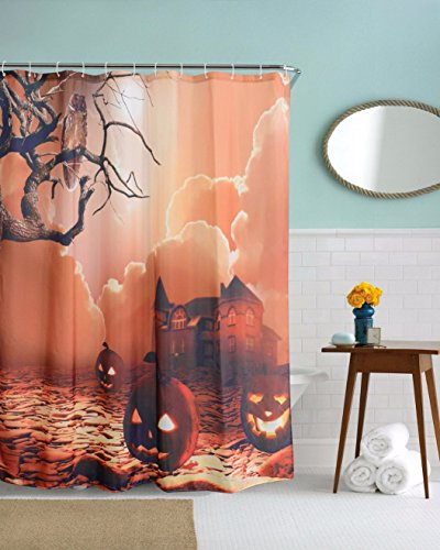 A.Monamour Gothic Night Angry Pumpkin Crow Tree Rock Road Haunted House Halloween Theme Home Decoration Shower Curtain 150X180 Cm / (Halloween Haunted House Themes)