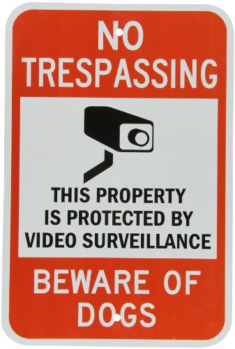 SmartSign 3M Engineer Grade Reflective Sign, Legend 'No Trespassing Video Surveillance Beware of Dogs' with Graphic, 18' high x 12' wide, Black/Red on White