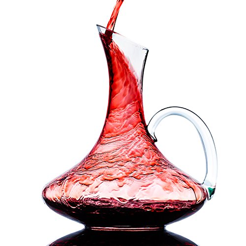 Culinaire 1800 ml (60.8 oz) Crystal Glass Wine Decanter/Wine Carafe with Handle