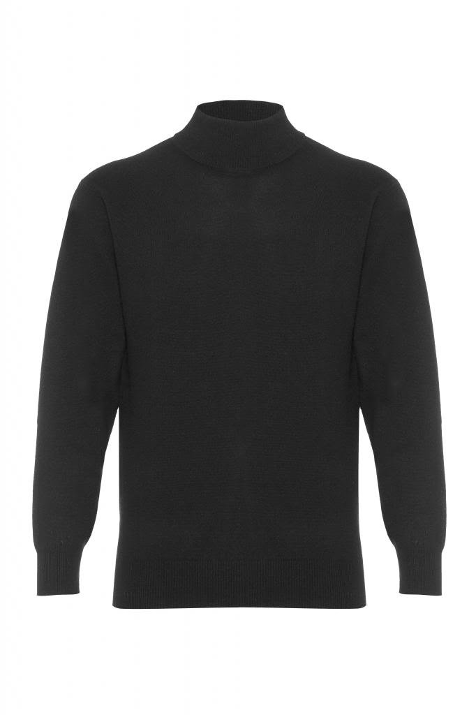 Scottish Wear Men's Pure Cashmere Polo Neck Sweater Black X-Large