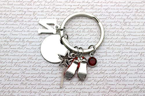 Theres No Place Like Home Keyring Ruby Slippers Wizard of Oz Initial /& Birthstone Crystal New Home Gift Inspirational Quote