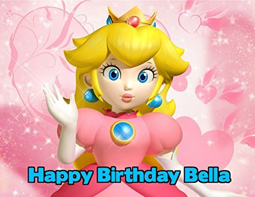 Super Mario Princess Peach Princess Toadstool Edible Image Photo Cake Topper Sheet Personalized Custom Customized Birthday Party - 1/4 Sheet - 79629