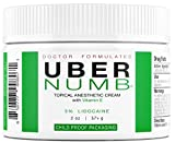 Uber Numb (2 oz) 5% Lidocaine Pain Relief Cream, Lidocaine Ointment, Numbing Cream-Child Resistant Cap