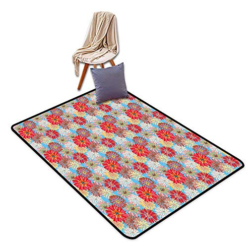 Bath Rug 3D Digital Printing pad Dahlia Cheerful Floral Pattern with Large Dahlia and Chrysanthemum in Lively Pastel Colors W47 xL59 Suitable for Restaurants,Family Rooms,corridors,foyers.