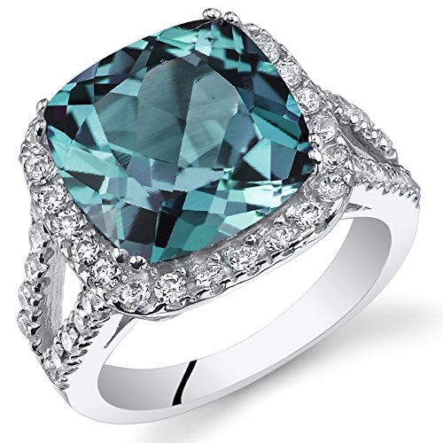 7.75 Carats Cushion Cut Simulated Alexandrite Ring Sterling Silver Size 6