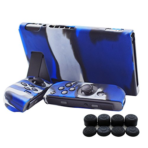 Hikfly 3pcs Silicone Gel Non-Slip Cover Skin Protector Case Kits for Nintendo Switch Console and Joy-Con Controllers with 8pcs Silicone Gel Thumb Grips Caps(Blue (Slip Switch)
