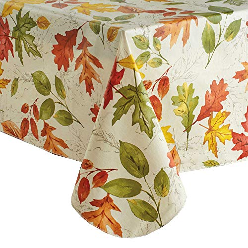 (Fall Vinyl Tablecloth Flannel Backed, Colorful Falling Autumn Leaves Print, (70 Round))