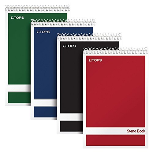Tops. Steno Books, 6'' x 9'', Gregg Rule, White Paper, Assorted Color Covers, 80 Sheets, 4 Pack (80220) (Limited Edition)