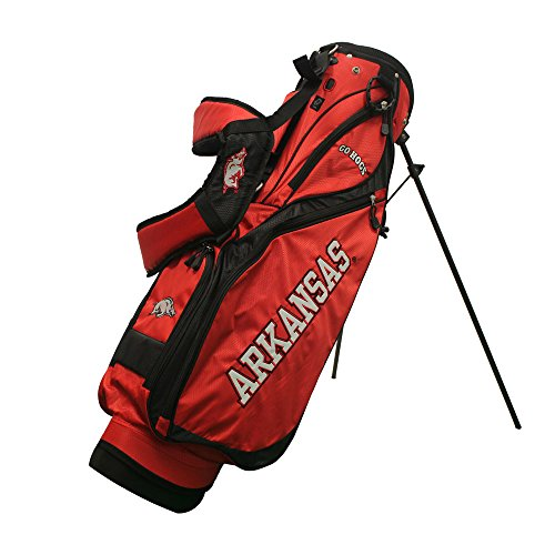 Team Golf NCAA Arkansas Razorbacks Nassau Golf Stand Bag, Lightweight, 4-Way Top w/Integrated Handle, Spring Action Stand, 4 Zipper Pockets, Padded Strap, Umbrella Holder & Removable Rain Hood ()