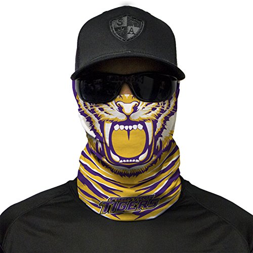 - SA Company Gameday College Face Shield Mask for Tailgating. Show your school pride. Bandana, Balaclava, Doo-rag, Neck Warmer Gaiter for NCAA, Big 12, SEC, PAC 12, Big 12, Football, Basketball - LSU Tigers