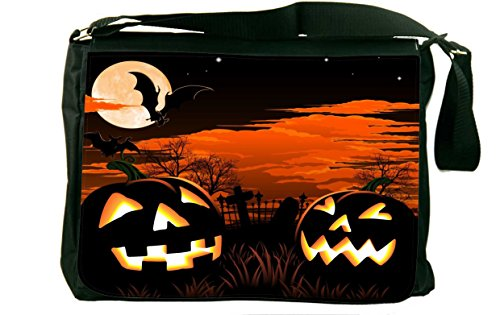 Rikki Knight Halloween Pumpkins Glow Design Messenger Bag...