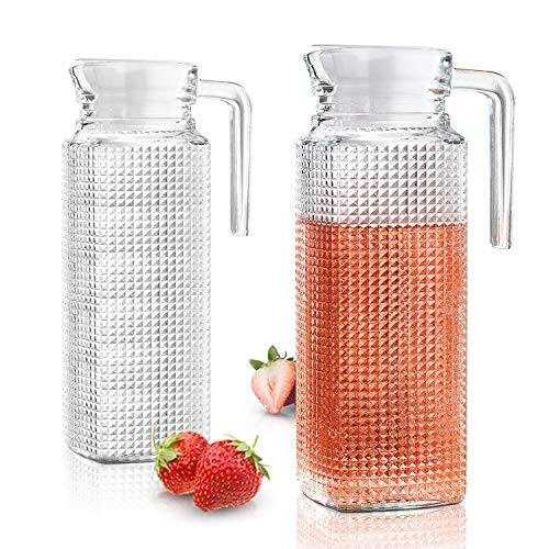 Glass Pitchers With Lid And Spout - 2 Piece Set 1-liter Diamond Design Water Pitcher With Handle | Chilled Beverages, Homemade Juice, Iced Tea Easy Pour Beverage Carafe