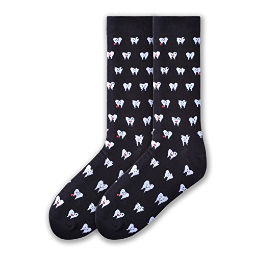 K. Bell Socks Men's Fun Occupational Novelty Crew Socks, Dentist (Black), Shoe Size: 6-12 ()