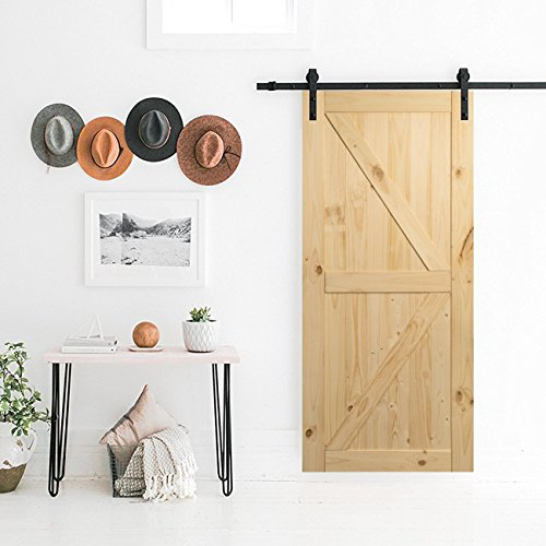 (Belleze 014-HG-BD3684 Unfinished Knotty Pine Single Pre Drilled (3 7 ft) Interior 36in x 84in Sliding Barn Wood Door, Arrow)