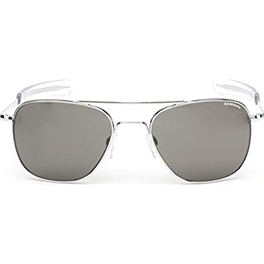 b2edf460203 Randolph Aviator Bright Chrome Bayonet Temple Gray Non-Polarized Sunglasses  Size  58 mm