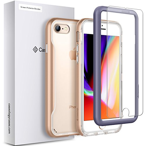 Caseology iPhone 8 Apex Clear Case with Screen Protector [Tempered Glass] and Guide Frame [Easy Installation] Bundle [Thin Slim Clear Design] for iPhone 8 / iPhone 7 - - Frame Apex