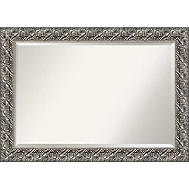 Wall Mirror Extra Large, Silver Luxor Wood: Outer Size 42 x 30