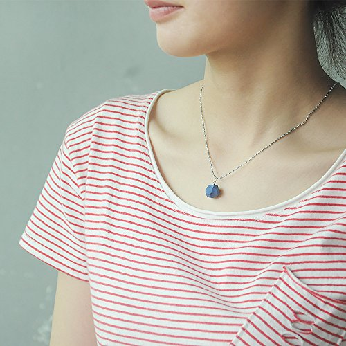 TKHNE Jumping Church Creative handmade ceramic navy blue color geometry necklace pendant women girls retro jewelry chain clavicle simple short