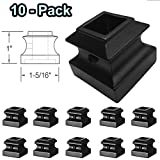 1/2' Iron Baluster Shoes (10-Pack) with Set Screw Stair Parts for 1/2' Square Metal Scroll Basket Twist Knuckle Spindles (Satin Black)