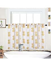 """NANAN Kitchen Curtains 30 Inch Length Yellow, Floral Pineapple Short Cafe Curtains, Small Kitchen Tier Curtains for Window, Set of 2 (Yellow, 30""""x30"""")"""