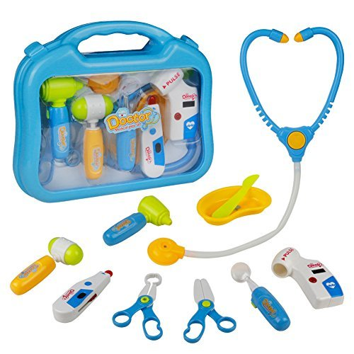 Doctor Kit Pretend Play Medical Kit Set Toys Gifts with Carry Case for Kids Girls Boys Children Over 3 Years Old 10 PCS