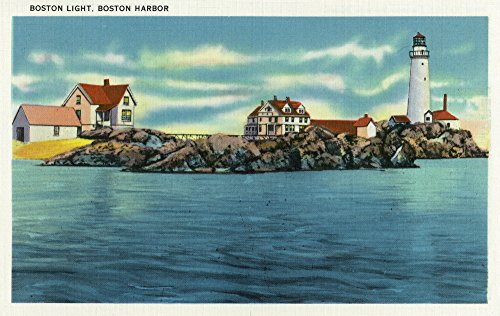 Boston Harbor Lighthouse - Boston, Massachusetts - View of Boston Harbor and Boston Lighthouse (12x18 SIGNED Print Master Art Print w/Certificate of Authenticity - Wall Decor Travel Poster)