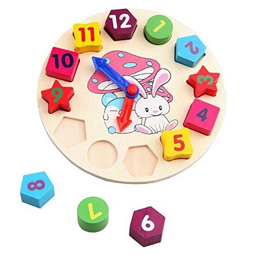 Horloge éducatifs, Jouets en bois pour l'éducation de numéro et d'heure pour enfants