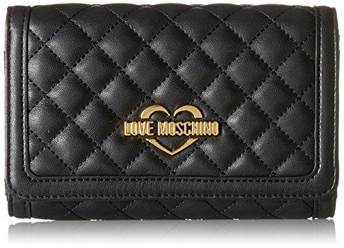 Love Moschino Damen Portafogli Nappa Pu Trap.Nero Clutch, Schwarz (Black), 10x17x4 cm